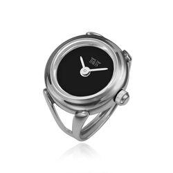 Davis stalen ring horloge mat zwart