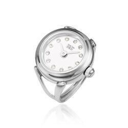 Ring horloge witte wijzerplaat met zirkonia van Davis