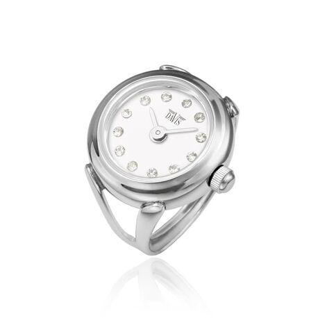 Davis stalen ring horloge wit zirkonia