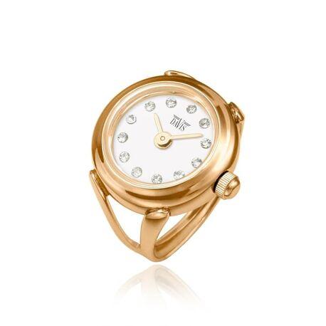 Davis roséverguld stalen ring horloge wit