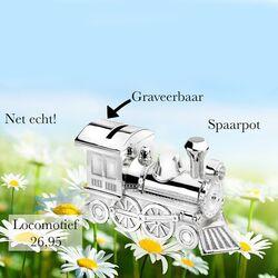 Verzilverde spaarpot locomotief