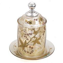 Antiek beschuitbus met zilveren dop