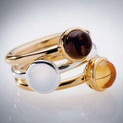Bastian Inverun verguld zilveren ring rookquartz