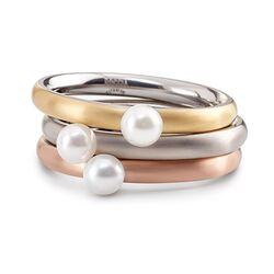 Boccia Titanium vergulde ring bezet met parel