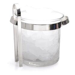 Kristallen ijsemmer verzilverd montuur en ijstang - juweliersrestant