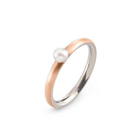 Boccia Titanium rosé vergulde ring pareltje