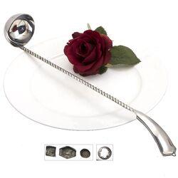 Zilveren bowllepel gedraaide steel parelrand