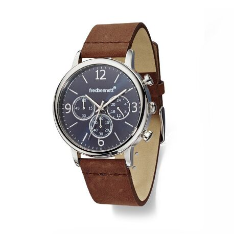 Fred Bennet bruin leren horloge zwart