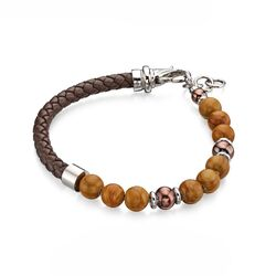 Fred Bennet stalen armband leer beads