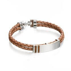 Fred Bennett naamplaat armband licht bruin