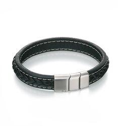Fred Bennett brede zwart leren armband