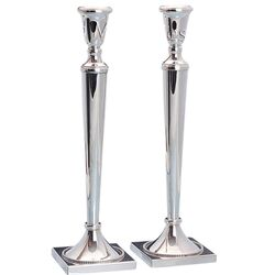 Stel hoge zilveren kandelaar vierkante voet parel