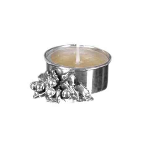 zilveren waxinelichthouder met hulstblaadjes