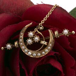 Antieke gouden broche halve maan met pareltjes
