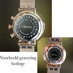 Zinzi Retro horloge roze-wit gestreept roze roze band