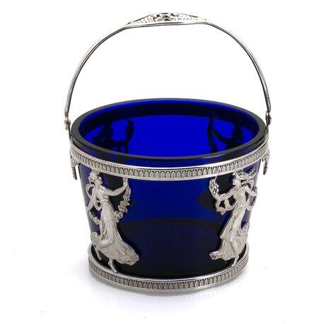 zilveren suikermand blauw glas van Begeer