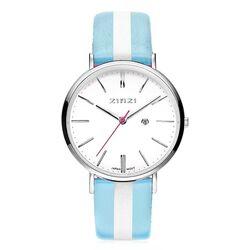Zinzi Retro horloge witte wijzerplaat blauw-witte band