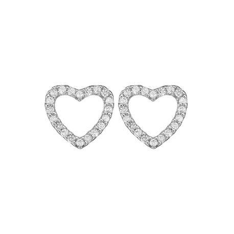 Christina zilveren oorstekers sparkling hearts