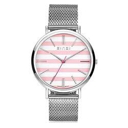 Zinzi Retro horloge roze-witte wijzerplaat mesh band ZIW419M