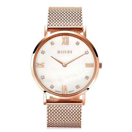Zinzi Roman horloge parelmoer wijzerplaat rosé