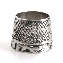 Antiek zilveren vingerhoed duimring