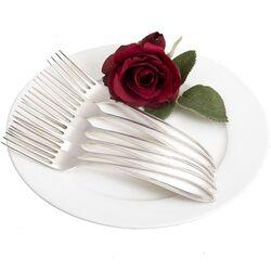 6 zilveren dessertvorken dubbelpuntfilet