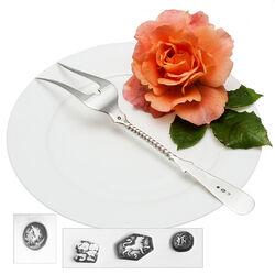 Zilveren vleesvork parelrand gedraaide steel