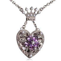Zilver collier hart medaillon markasiet amethist en pareltjes
