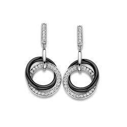 MY iMenso zilveren oorhangers cirkels zwart