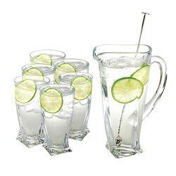 cocktailset limonadeset schenkkan met glazen en een zilveren lepel