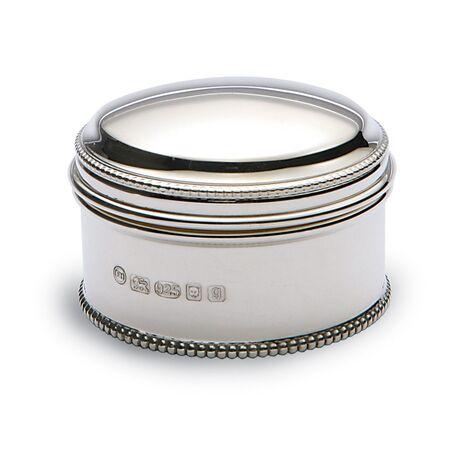 Zilveren doosje of trommeltje parelrand