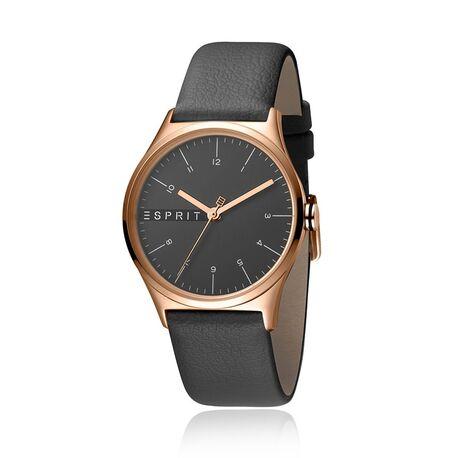 Esprit roséverguld horloge met grijs lerenband