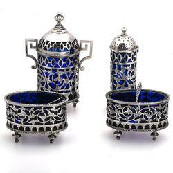 antiek zilveren tafelgarnituur blauw glas