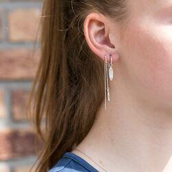 Julie Sandlau zilveren doortrek oorbellen Bamboo stok