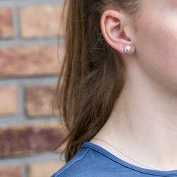 Julie Sandlau zilveren oorknoppen Glow bezet met zirkonia