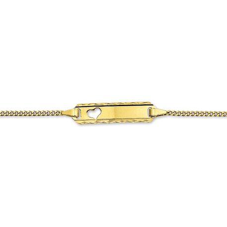 Gouden kindernaamplaat armbandje met hartje