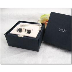 Zilveren  manchetknopen en dasschuif met zwart emaille Carrs