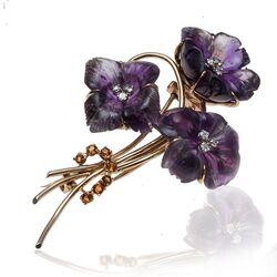 Gouden Takbroche amethist bloemen met diamant en citrien