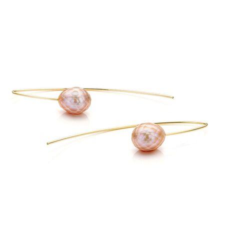 Sanne Kickken oorbellen goud met facet geslepen roze parels