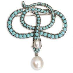 Zilveren slang broche met turkoois en parels