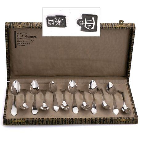 Antieke theelepels van zilver gemaakt in Middelburg door Anthonie Janse