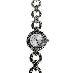 Zilveren horloge markasiet rond