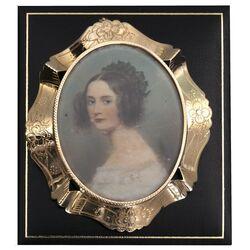 gouden broche hanger antiek geschilderd portretje