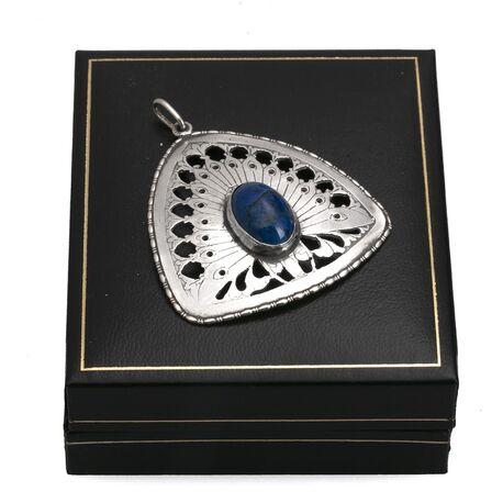 Amsterdamse school zilveren hanger pauw Lapis Lazuli
