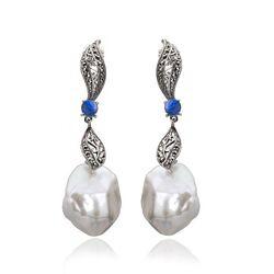 Zilveren lange markasiet oorstekers parel opaal
