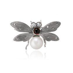 Zilveren broche vlieg met granaat en parel