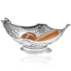 Grote zilveren broodmand met strikken en guirlandes van Hooijkaas