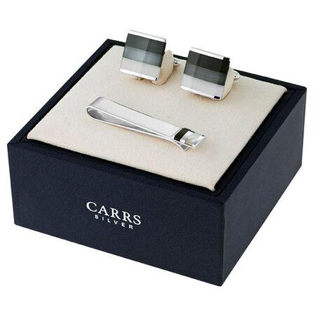 Zilveren manchetknopen en dasschuif van Carrs met onyx en parelmoer