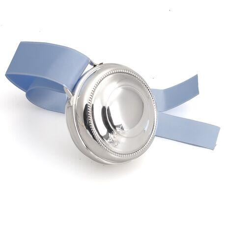 Zilveren muziekdoosje met parelrand en opwindsleutel