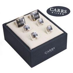 Zilveren manchetknopen met 4 drukkers Carrs